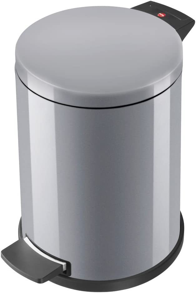 Hailo ProfiLine Solid L M/ülleimer 0522-090 aus Stahlblech, 18 Liter, verzinkter Inneneimer, selbstl/öschend, Anti-Rutsch-Fu/ß, weiss