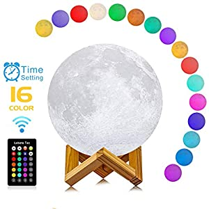 Lebote 7 inch Moon Lamp 3D Printing Moon Light Lamps 16 Colors 3D Moon Lamp with Stand,Time Setting,Touch Control and Remote Control Moon Night Lights for Birthday Party Kids Christmas Gifts