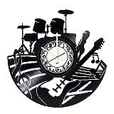 BorschToday Music Notes Vinyl Record Wall Clock – Get Unique Living Room Home Room Wall Decor – Gift Ideas Men Women, Parents, Kids – Musical Instruments Unique Art Design