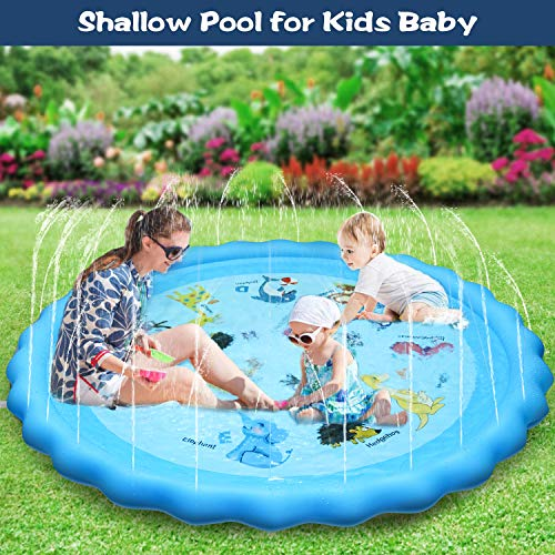 Tesinll Splash Pad, Sprinkler for Kids, 68 Inches Wading Pool for Learning, Water-Filled Play Mat Sprinkler Pool, Inflatable Water Toys, Large Outdoor Swimming Pool for Babies, Toddlers