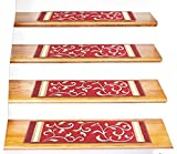 Stair Treads Carpet Non-Slip - Stair Runners for Wooden Steps Non Slip - Rubber Back Stair Rugs - Pet Dog Carpet for Stairs - Stairway Carpet Rug - Set of 7 Red Floral (8.5