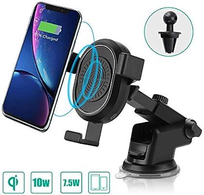 AURSEN Qi Rápido Cargador Inalámbrico Coche con Dos Soportes Móvil Coche para Samsung Galaxy S9 / S9 + / Note 9 / Note 8 / S8 / S8 + / S7 / S7 / S6 / ...