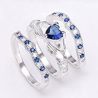 Fashion Jewelry Womens Claddagh Blue Sapphire 925 Silver Wedding Ring Size5-12 (9)