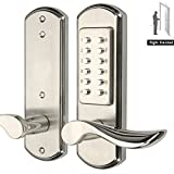 AcPulse Digital Mechanical Keyless Door Lock Combination Code Entry Keypad Push Accent Levers Stainless Steel 304-Not Deadbolt Need to drill additional 4 holes Only for single bore door
