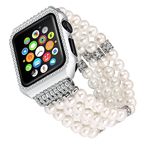 For apple Watch Band Replacement, Solomo Luxury Bling Diamonds Metal Case with Handmade Elastic Stretch Bracelet iWatch Strap Gilrs Women Rhinestone Wristband for Apple Watch Series 3/2/1 (38MM White)