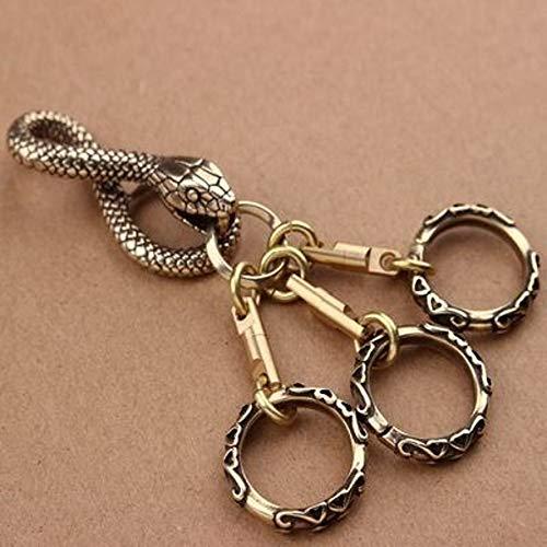 WellieSTR Vintage Pure Copper Snake Keychains Belt Clip Mens Key Chain Ring Antique Brass Metal Wallet Jeans Waist Buckle Hook Keys ()