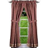 Primitive Home Decors Berry Vine Check Curtain Panels 63 Inch - Barn Red