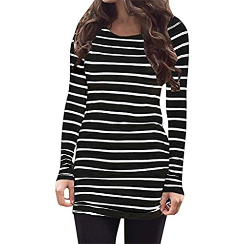 Stripe Casual Shirt (Myobe Women's Casual Rayon Striped O Neck Long Sleeve Bottom T-Shirt Blouse Tops White Black (XXL, Black))