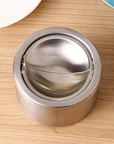 RUOYOU Windproof Ashtray,Creative Stainless steel Ashtray With lid For Home Bars-A by RUOYOU (Image #2)