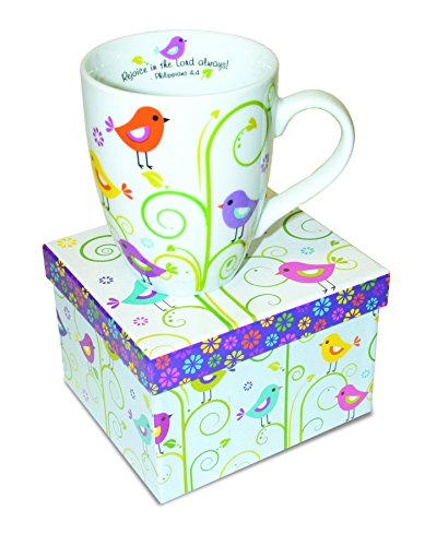 Divinity Boutique Inspirational Ceramic Mug - Birds and Plants, Philippians 4:4, Rejoice In The Lord Always, Multicolor from Divinity Boutique