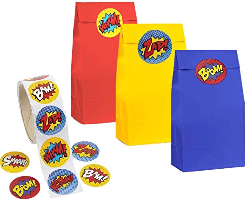 kedudes Kids Party Bag & Stickers - 3 Color Paper Bag Red, Yellow and Blue with A Roll of 100 Superhero Sticker (Paper Bags & -