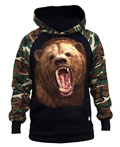 - Interstate Apparel Men's Grizzly Bear Black/Camo Raglan Baseball Hoodie Large