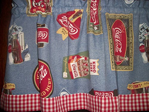Coca Cola Coke Red White Blue Checks curtain topper Valance apx. 42