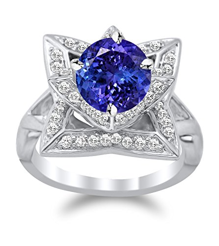- 14K White Gold Lotus Flower Diamond Engagement Ring with a 0.5 Carat Tanzanite AAA Heirloom Center Stone