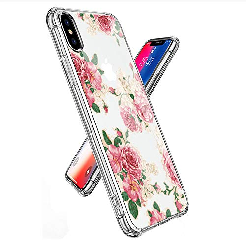 (Designed for iPhone Xs Case, iPhone X Case, oasisM Protective Soft Silicone Gel Rubber Clear Cover Slim Shock Absorbing Shell Anti-Scratch Bumper Skin for Apple iPhone Xs/iPhone X - Rose Peony)