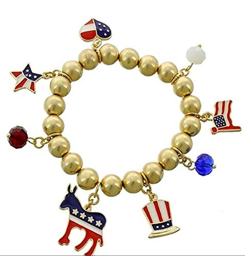 4th of July Independence day beaded Charm bracelet Silver American Flag/Hand Bag Charm USA Charm Bracelet BG Red White Blue American Flag -