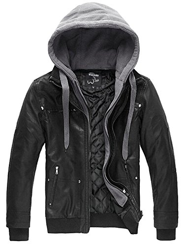 Wantdo Men's Leather Jacket with Removable Hood US XX-Large Black(Heavy) (Leather Jacket Boys 8 20)