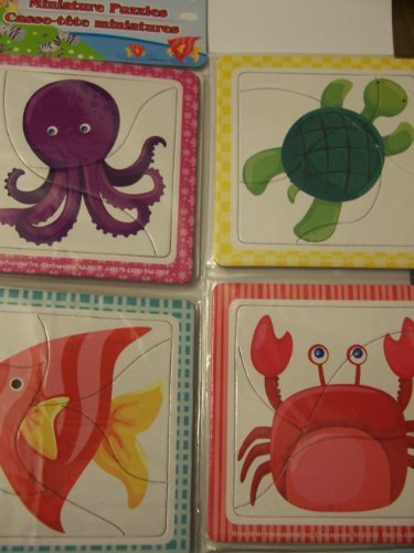 Miniature Learning Ocean Creature Puzzles  Octopus, Fish, Turtle, Crab (3 to 6 Piece Puzzles) by Grünbrier by Grünbrier