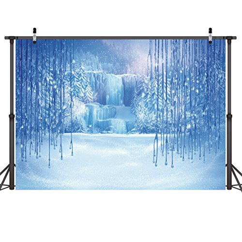 LYWYGG 7x5ft Ice and Snow White World Photography Backdrops Background Christmas Winter Frozen Snow Ice Crystal Pendant World for Children Photo Studio Props Backdrop CP-12