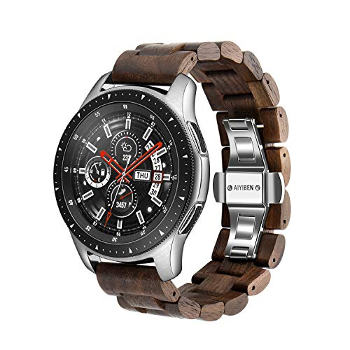 Wood Watchband 22mm for Samsung Galaxy, 46mm Wooden Stainless Steel Watch Band Quick Release Strap Replacement Bracelet Wristband for Gear S3 (Walnut 22MM)]()