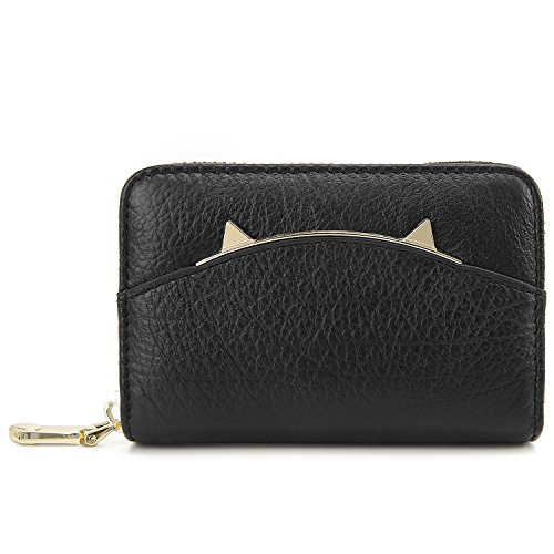 ECOSUSI Women Wallet Leather Accordion RFID Blocking Card Holder Organizer Cute Cat Ear Design Purse