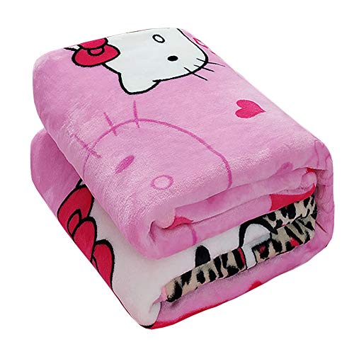 (HOLY HOME Kids' Flannel Blanket Throw, Fashionable Leopard Print & Hello Kitty Cat, Flannel Flat Sheet & Sleeping)