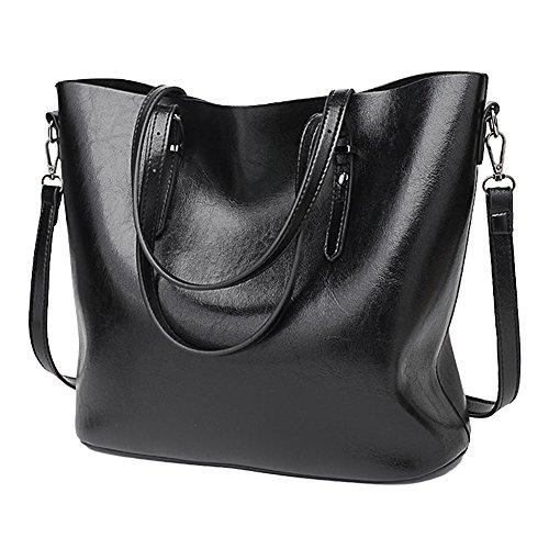 SSMK Womens Handbags Fashion Handbags for Women Leather Shoulder Bags Messenger Tote Bags Black