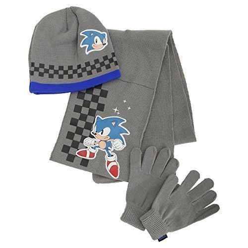 Sonic The Hedgehog Gloves (Childrens/Kids Boys Sonic The Hedgehog Winter Hat, Scarf & Gloves Set (4-8 Years) (Grey/Blue))
