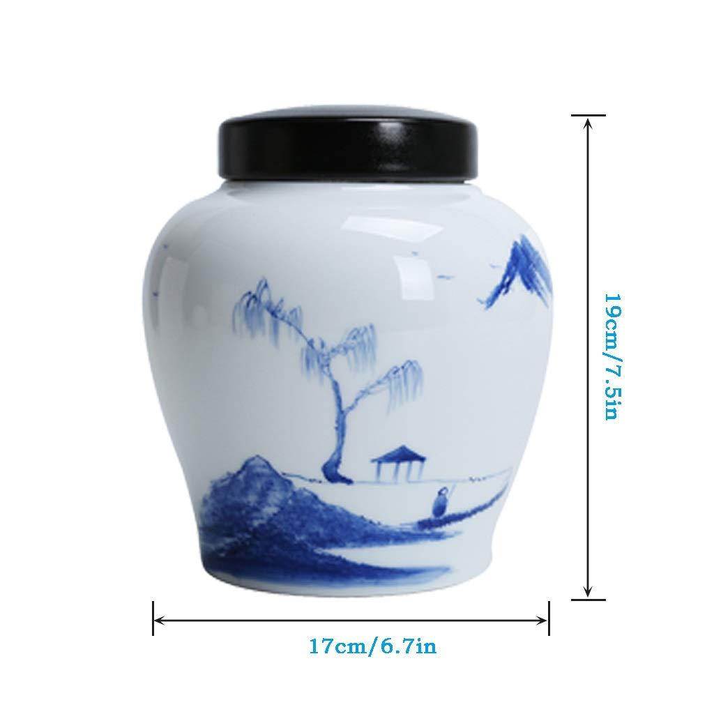Color : Style1 UCYG Vorratsdosen Aufbewahrungsbox K/üche Beh/älter M/üsli Gro/ße mit Deckel 2L Dosen Einmachglas Kaffeedose Luftdicht Geschirr Keramik f/ür Tee Kaffee Gew/ürz 19x17cm