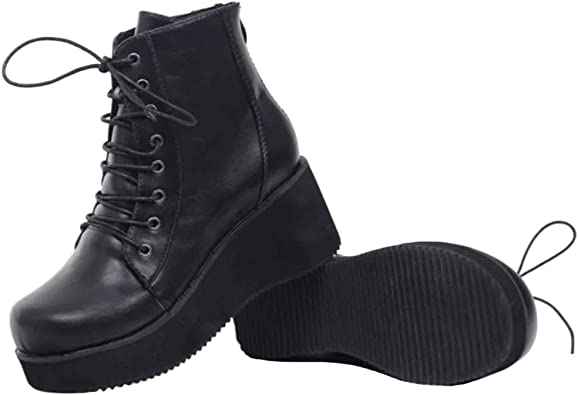 Punk Sparkly Wedge Combat Ankle Boots