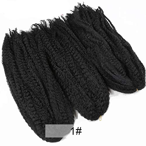 18'' Crochet Marly Braids black Hair Soft Afro twist synthetic Braiding Hair Extensions High Temperature Fiber for woman,#1,18inches,10Pcs/Lot ()