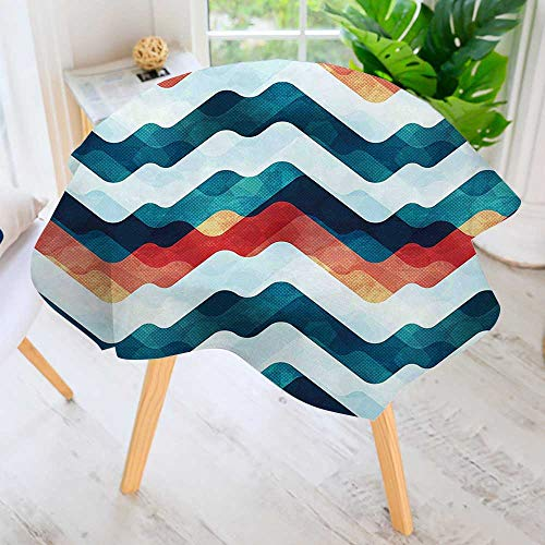 "UHOO2018 Hand Screen Printed Tablecloth-Zig Zag Chevron Style Print with Watercolored Tribe Painting Image Petrol Blue White Modern Printed Spill Proof Cloth Round Tablecloths 59"" Round"