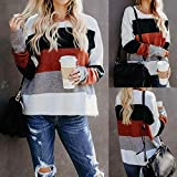 WOCACHI Final Clear Out Womens Blouses Long Sleeve Patchwork Wide Stripe Shirt Tops Sweatshirt Black Friday Cyber Monday Winter Casual Pullover Color Block Crew Neck (White, Medium)