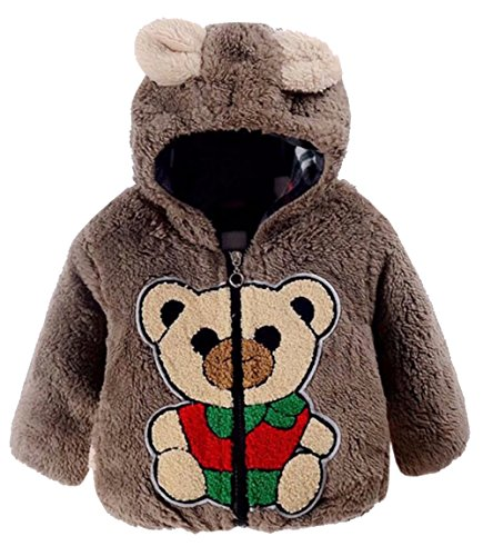 (Baby Boys Girls 3D Cartoon Bear Fleece Thick Hooded Jacket Winter Warm Windproof Peacoat Snowsuit Size 12-18 Months/Tag90 (Brown))