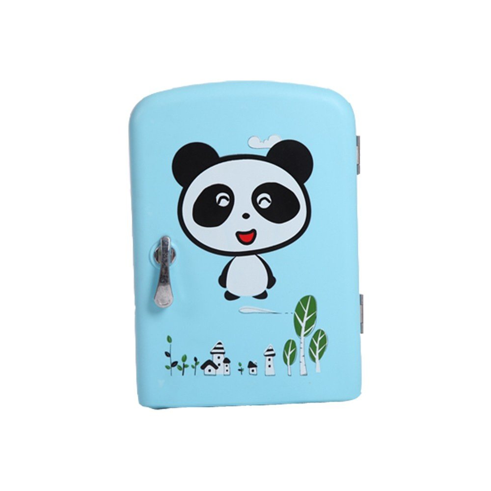 6Can Mini Fridge Cooler and Warmer for Home ,Office, Car, Blue panda
