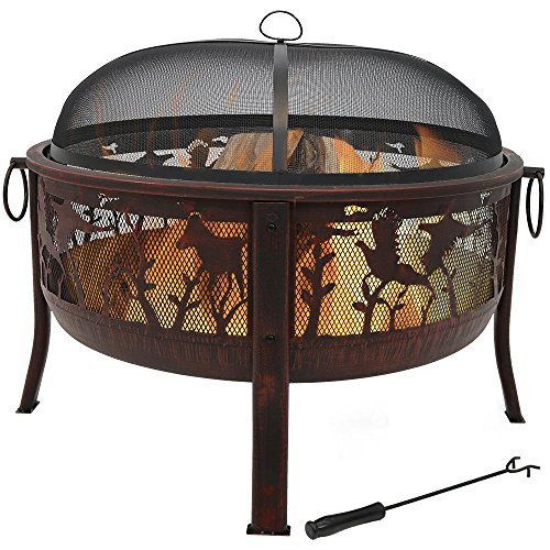 Sunnydaze Pheasant Hunting Outdoor Fire Pit - 30 Inch Large Round Wood Burning Backyard & Patio Firepit for Outside - Spark Screen, Waterproof Cover, Metal Grate, and Fireplace Poker Included