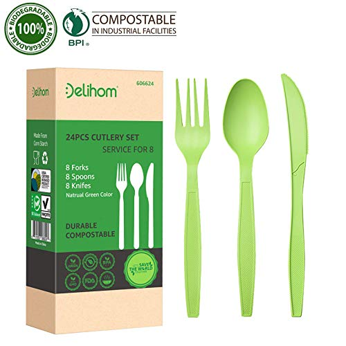 Delihom Eco-friendly Utensil Set - 24PC Compostable Large Forks Spoons and Knives Cutlery Set Sturdy and Heat Resistant Tableware Set Potables for Outdoors Camping, Picnics, Office and Trip