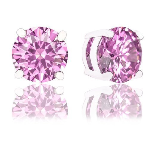 ORROUS & CO Womens 18k Gold Plated Round Cubic Zirconia Solitaire Stud Earrings (6.80 carats) - Pink