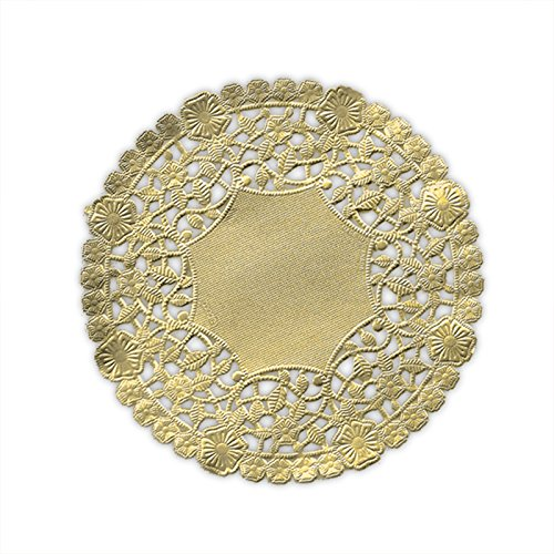 (Pack of 50) Black Cat Avenue 6 Inch Round Metallic Gold Foil Doilies -