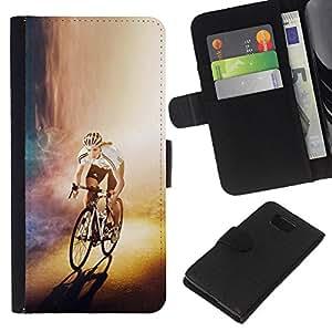 YiPhone /// Tirón de la caja Cartera de cuero con ranuras para tarjetas - CICLISTA bicicleta del corredor - Samsung ALPHA G850
