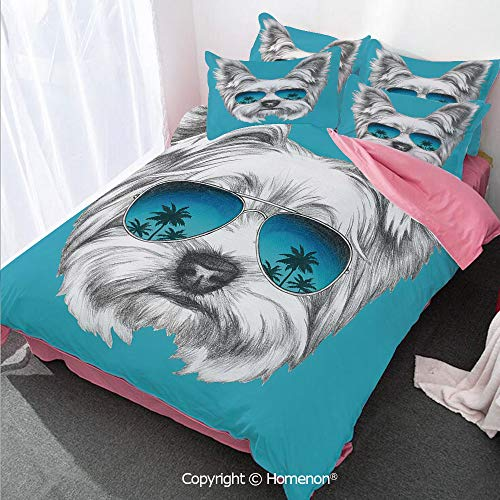 Homenon Yorkie Girl's Room Cover Set King Size,Yorkshire Terrier Portrait with Cool Mirror Sunglasses Hand,Decorative 3 Piece Bedding Set with 2 Pillow Shams Blue White