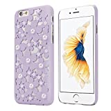 OVERMAL Sweet Girl ,Only for iPhone 6S case ,4.7 Inch Case,Hollow Out Pearl Flowers Back Case Cover Skin For iPhone 6S (Purple)