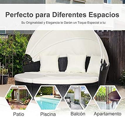 Outsunny Sofá Modular Diseño 2 en 1para Jardín Cama Chill-out con Toldo Ajustable 180x175x147cm Estructura Oscura y Cojines Claros: Amazon.es: Jardín