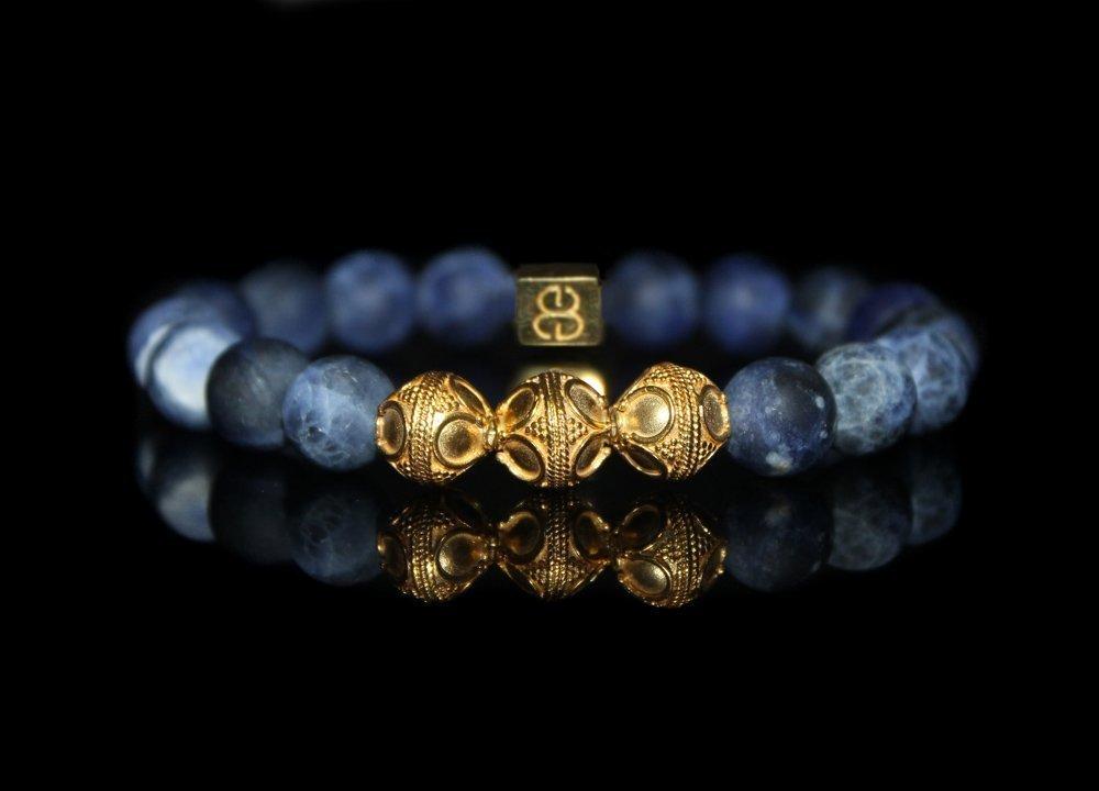 Men's Sodalite Bracelet, Sodalite and Gold Bracelet, Men's Luxury Bracelet