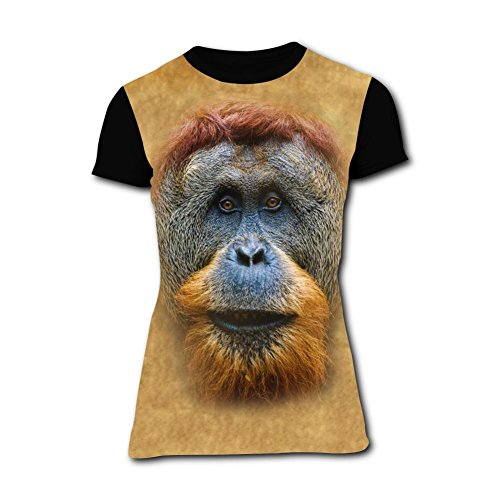 Fashion Orangutans Baboons Womens Tee T-Shirt Round Neck Costume XXL