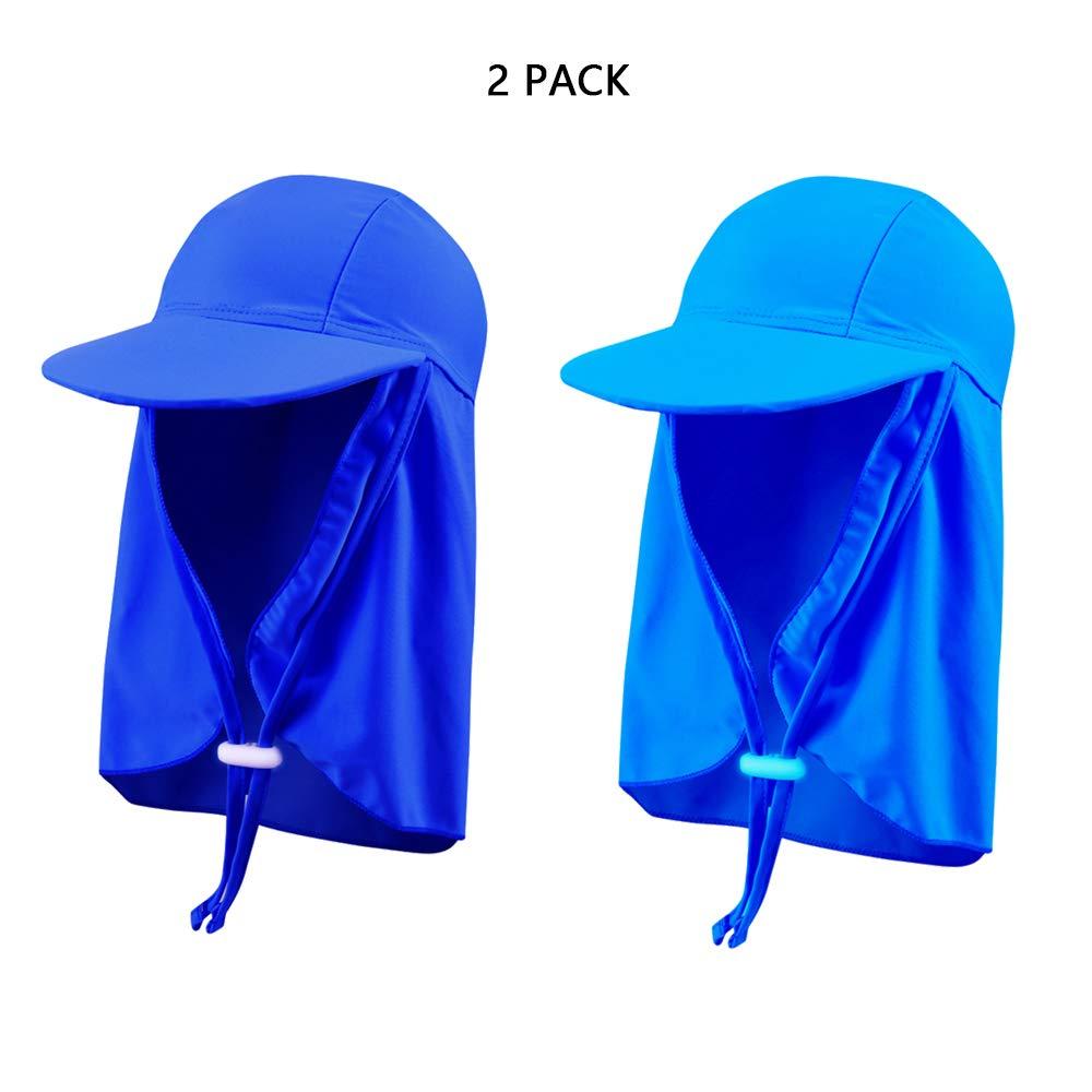 A  MIMI KING Chapeau de légionnaire UV pour Enfants, visière d'été, Lot de 2, Capuchon de Prougeection de la Plage