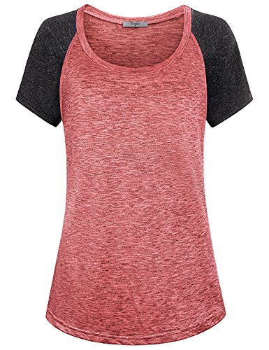 Cestyle Yoga Tops,Womens Casual Raglan Sleeve Color Block Sports Loose Fit Stretchy Leggings Shirts Exercise Lightweight Relaxed Fit Tunics Red Medium - Relaxed Fit Medium Weight
