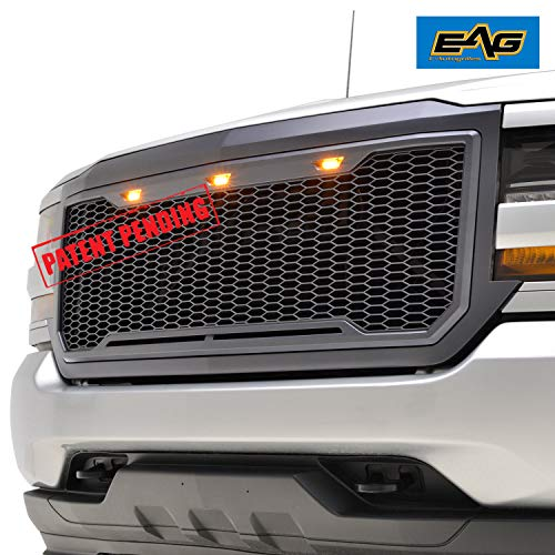 Silverado Charcoal - EAG Replacement Upper ABS Grille Front Hood Grill with Amber LED Lights - Charcoal Gray Fit for 16-18 Chevy Silverado 1500