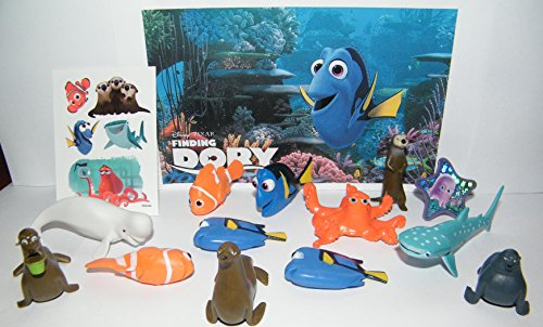 Finding Tattoos Nemo - Disney Finding Dory Movie Deluxe Party Favors Goody Bag Fillers Set of 14 with Figures, a Tattoo Sheet, ToyRing Featuring Dory, Nemo, Hank, Destiny and More!