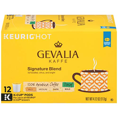 Gevalia Decaf Mild Signature Blend Keurig K Cup Coffee Pods (72 Count, 6 Boxes of 12)